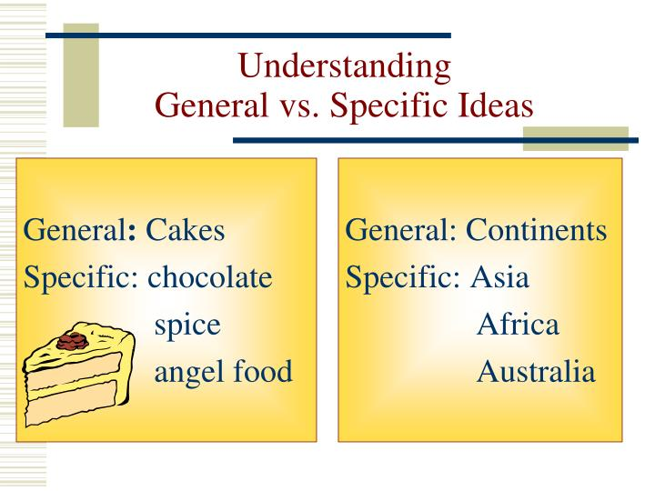 Understanding general vs specific ideas