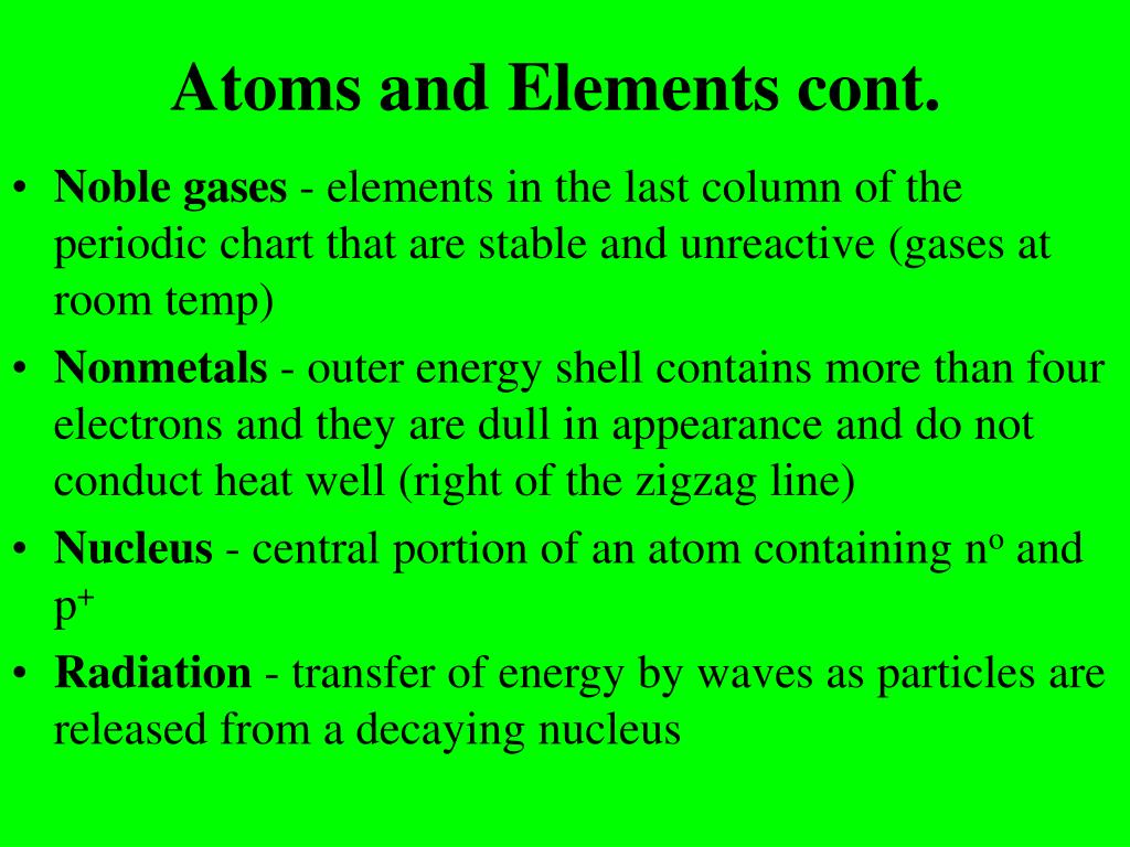 Atoms and Elements cont.