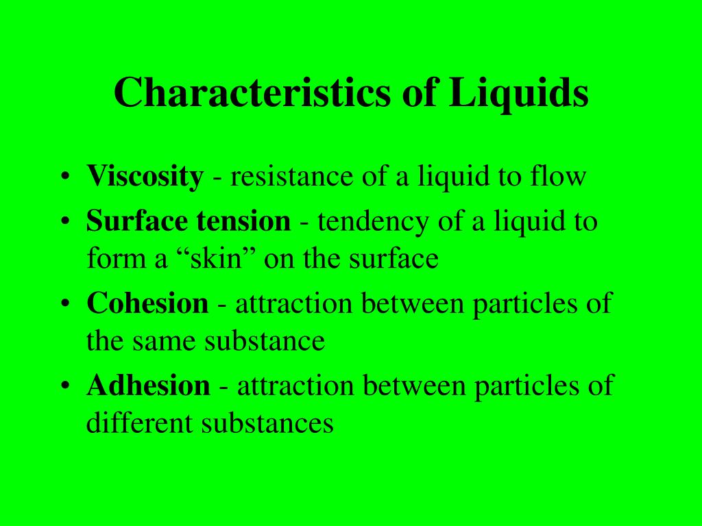 Characteristics of Liquids