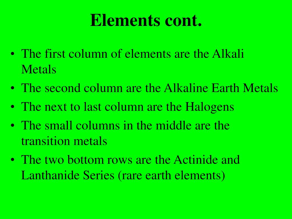 Elements cont.