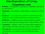 interdependence of living organisms cont
