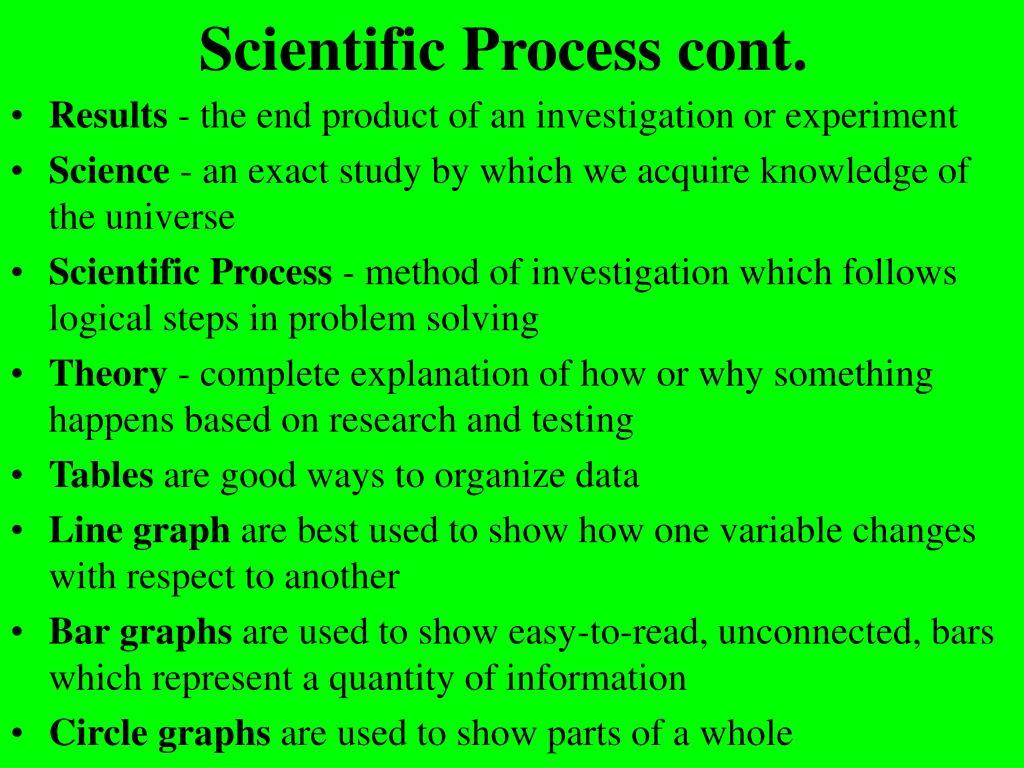 Scientific Process cont.