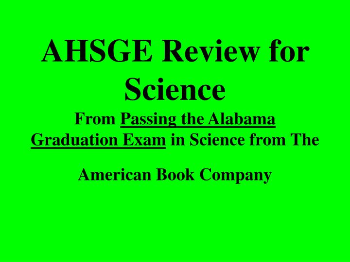 AHSGE Review for Science