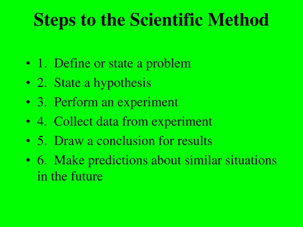 Steps to the Scientific Method