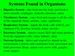 systems found in organisms