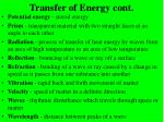 transfer of energy cont