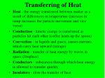 transferring of heat