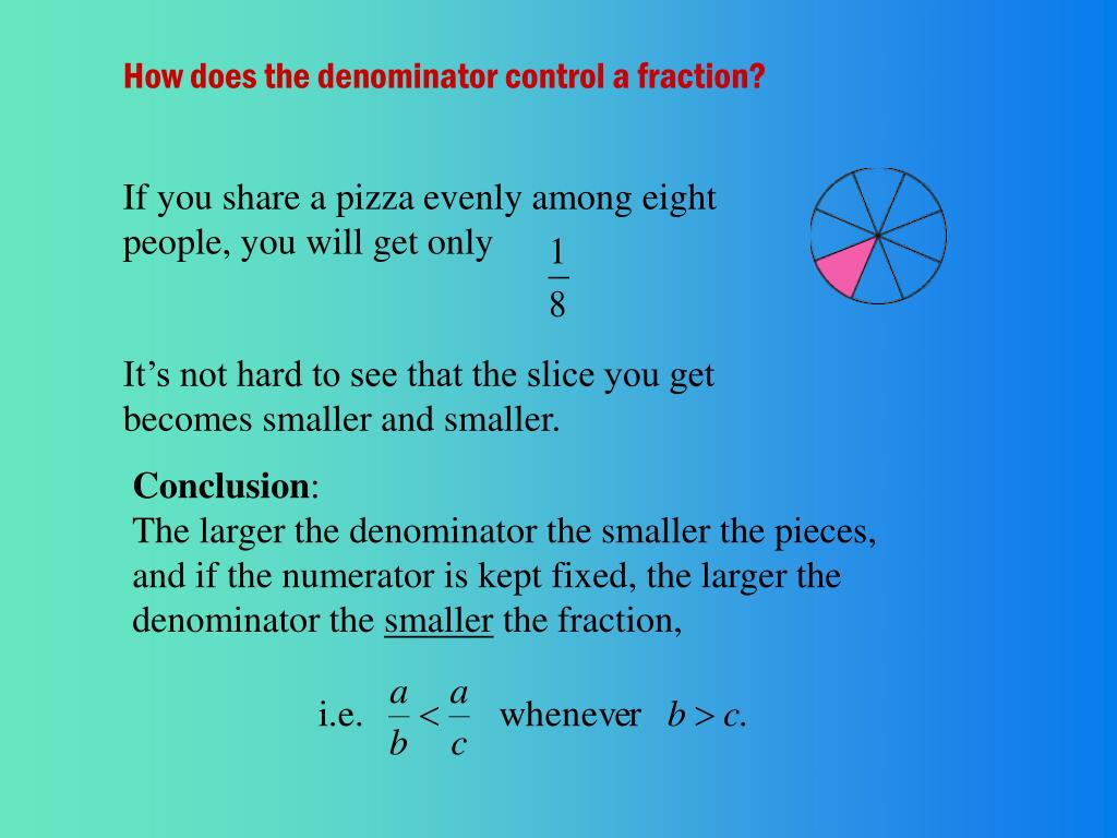 How does the denominator control a fraction?