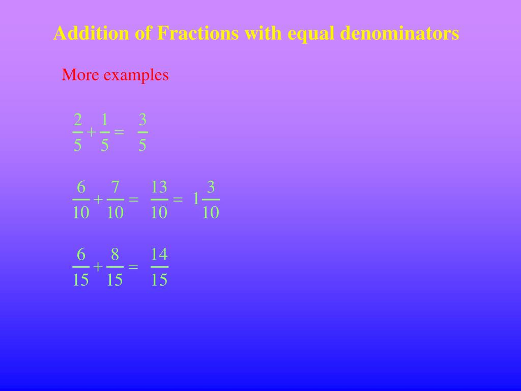 Addition of Fractions with equal denominators