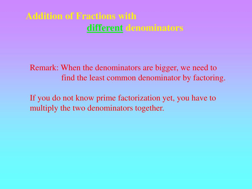 Addition of Fractions with