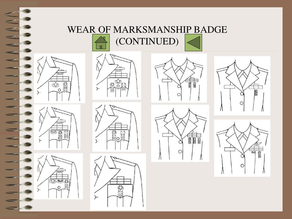 WEAR OF MARKSMANSHIP BADGE (CONTINUED)