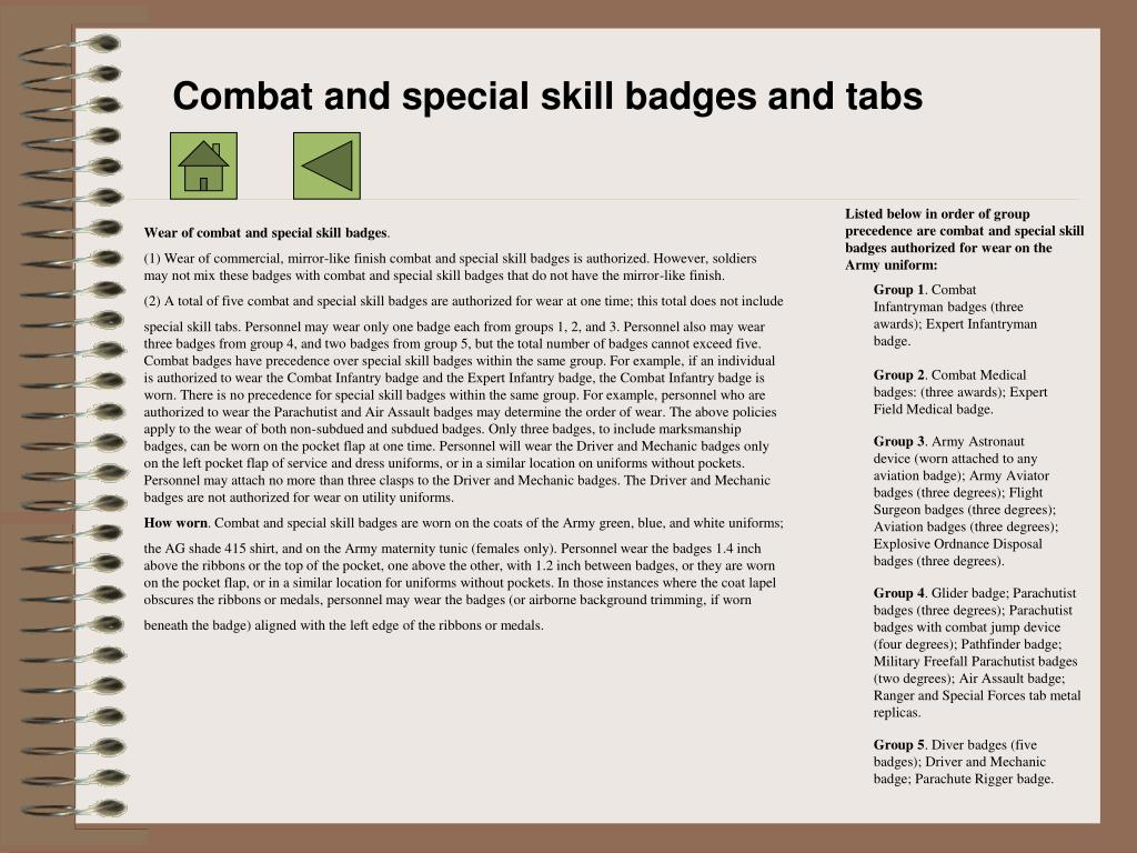 Combat and special skill badges and tabs