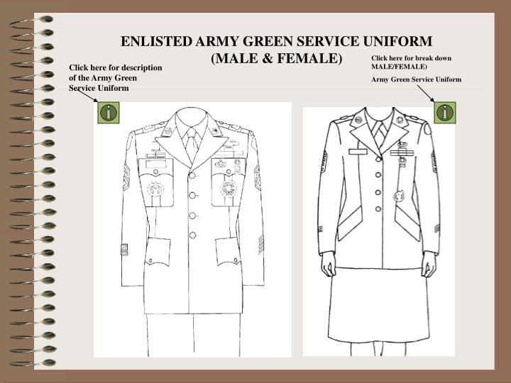 ENLISTED ARMY GREEN SERVICE UNIFORM (MALE & FEMALE)