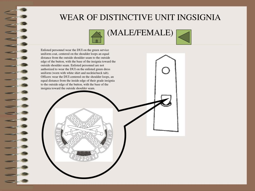 WEAR OF DISTINCTIVE UNIT INGSIGNIA