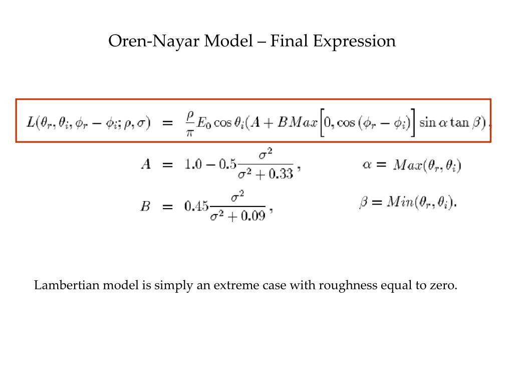 Oren-Nayar Model – Final Expression