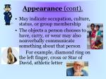 appearance cont