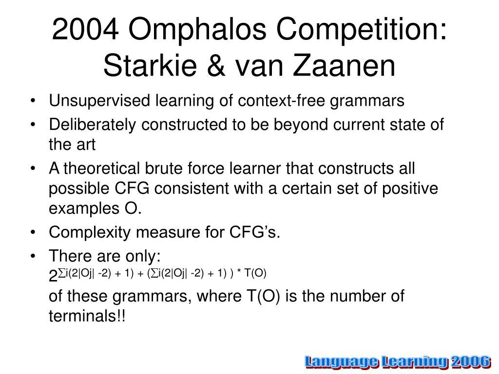 2004 Omphalos Competition: Starkie & van Zaanen