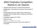 2004 omphalos competition starkie van zaanen