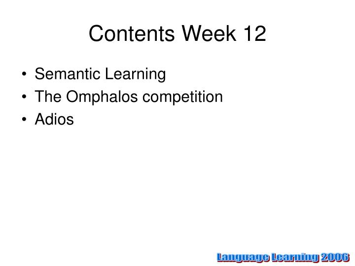 Contents week 12