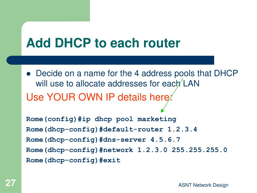 Add DHCP to each router
