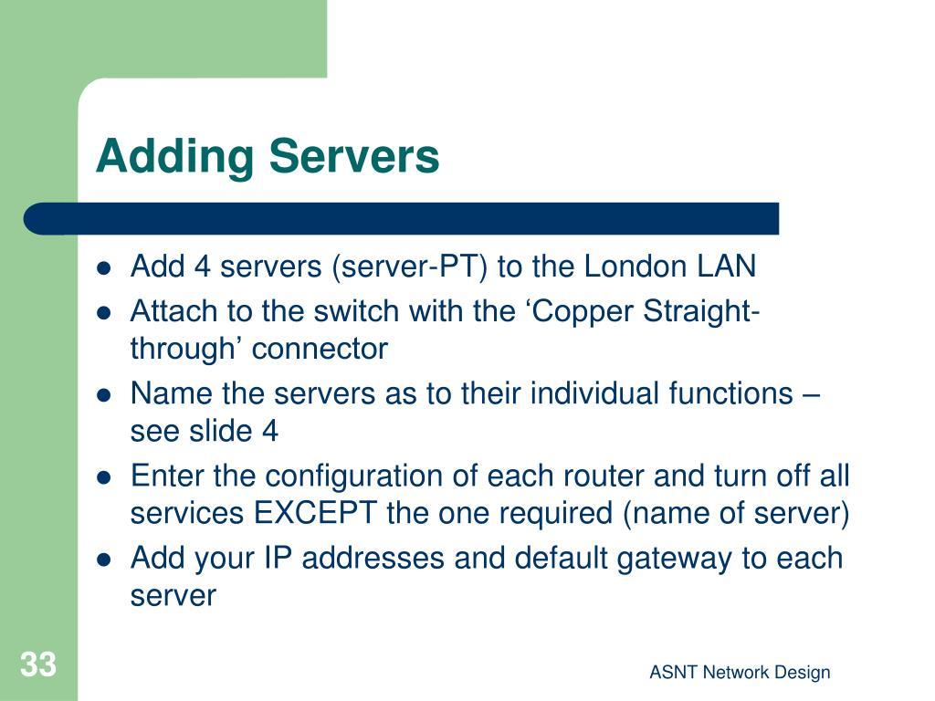 Adding Servers