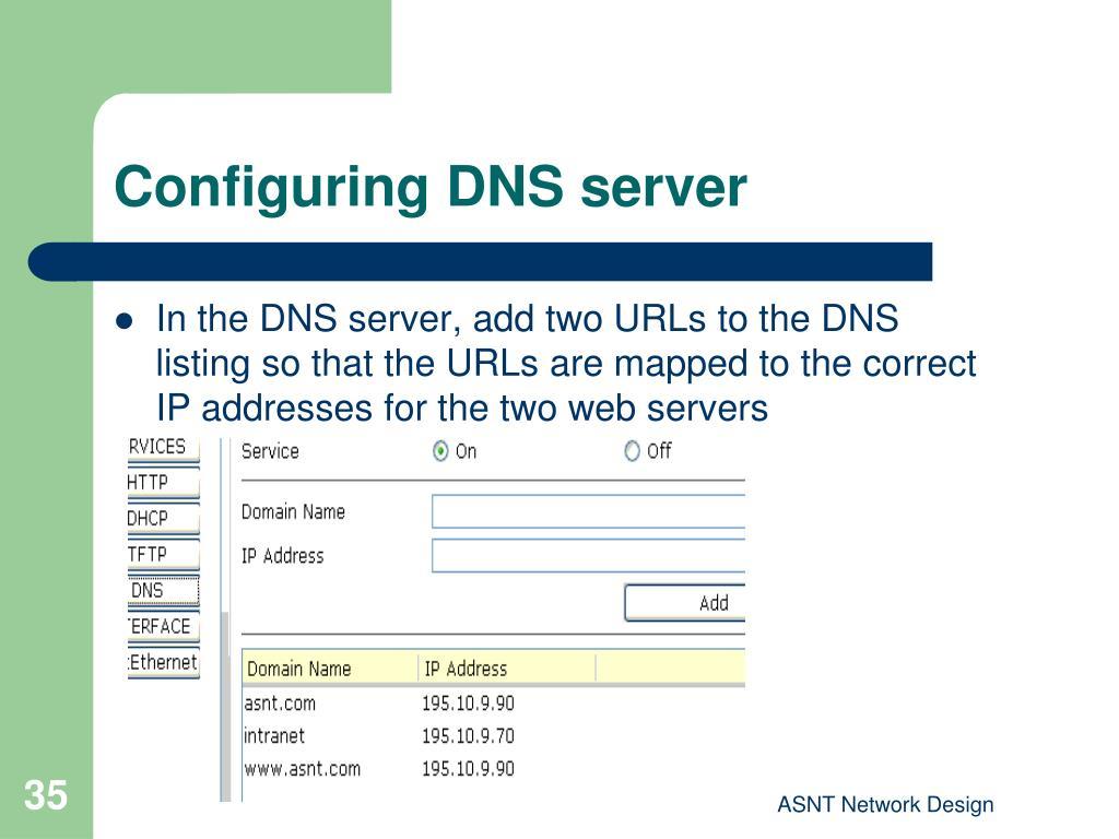 Configuring DNS server