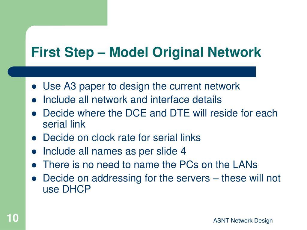 First Step – Model Original Network