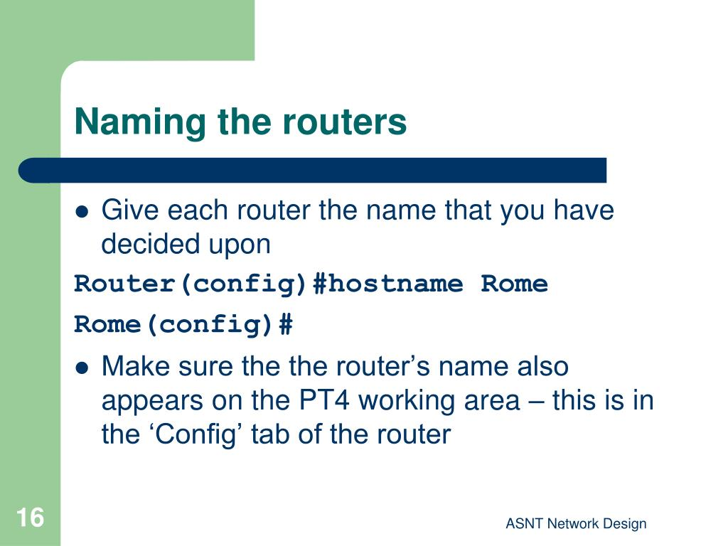 Naming the routers