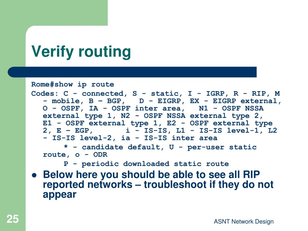 Verify routing