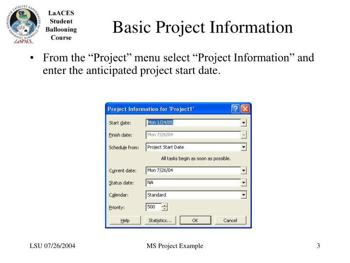 Basic project information