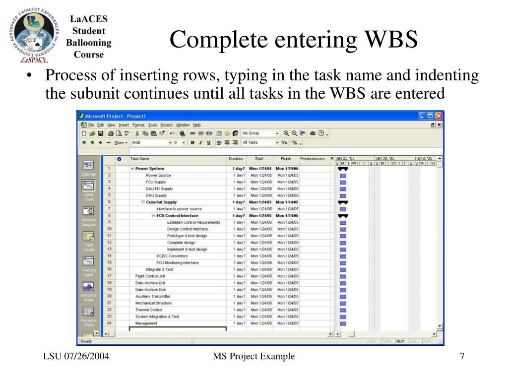 Complete entering WBS