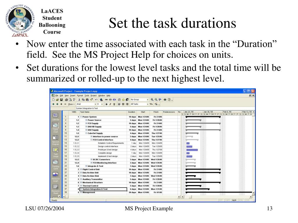 Set the task durations