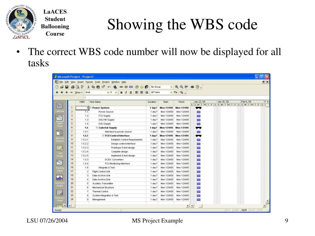 Showing the WBS code