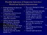 possible indicators of suspicious activities waterfront facilities infrastructure
