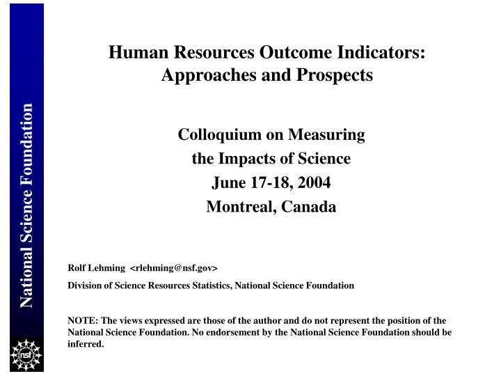 Human resources outcome indicators approaches and prospects
