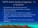 sepa administative appeals in a nutshell