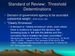 standard of review threshold determinations