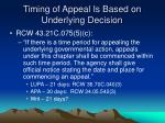 timing of appeal is based on underlying decision