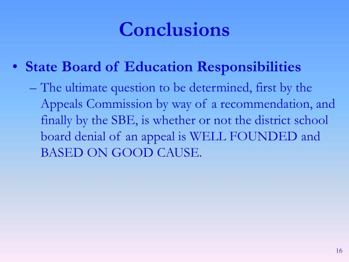 State Board of Education Responsibilities