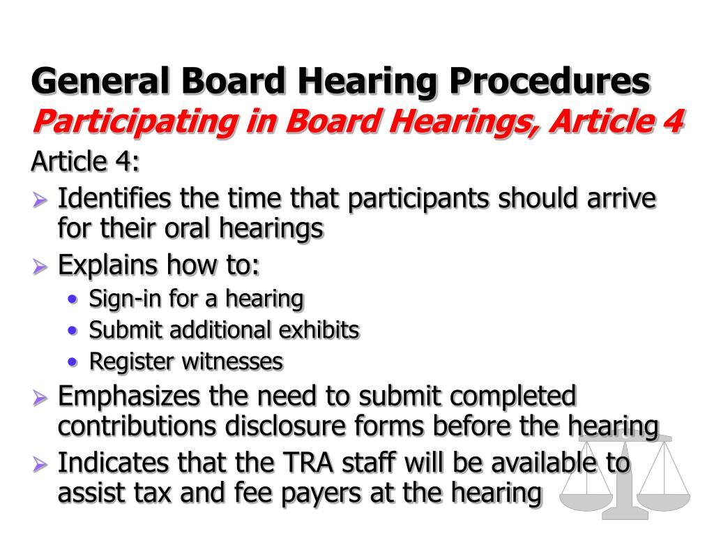 General Board Hearing Procedures