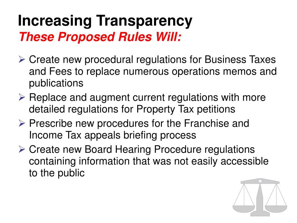 Increasing Transparency