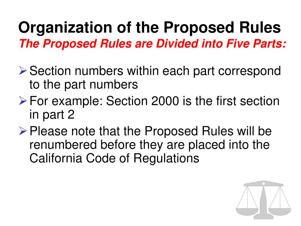 Organization of the Proposed Rules
