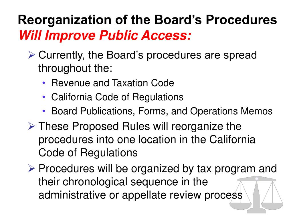 Currently, the Board's procedures are spread throughout the:
