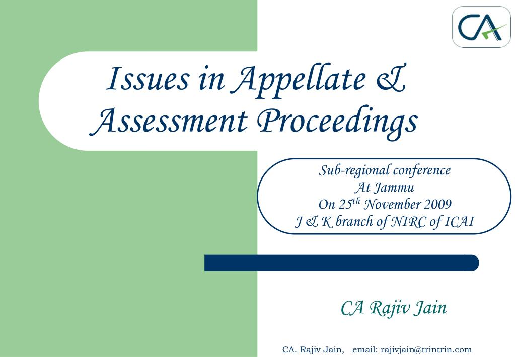 issues in appellate assessment proceedings l.