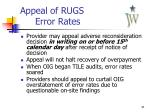 appeal of rugs error rates