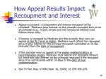 how appeal results impact recoupment and interest