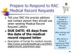 prepare to respond to rac medical record requests