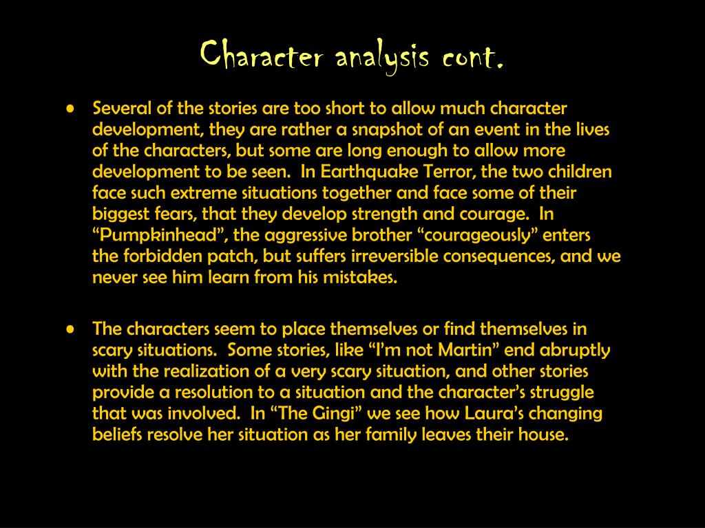 Character analysis cont.