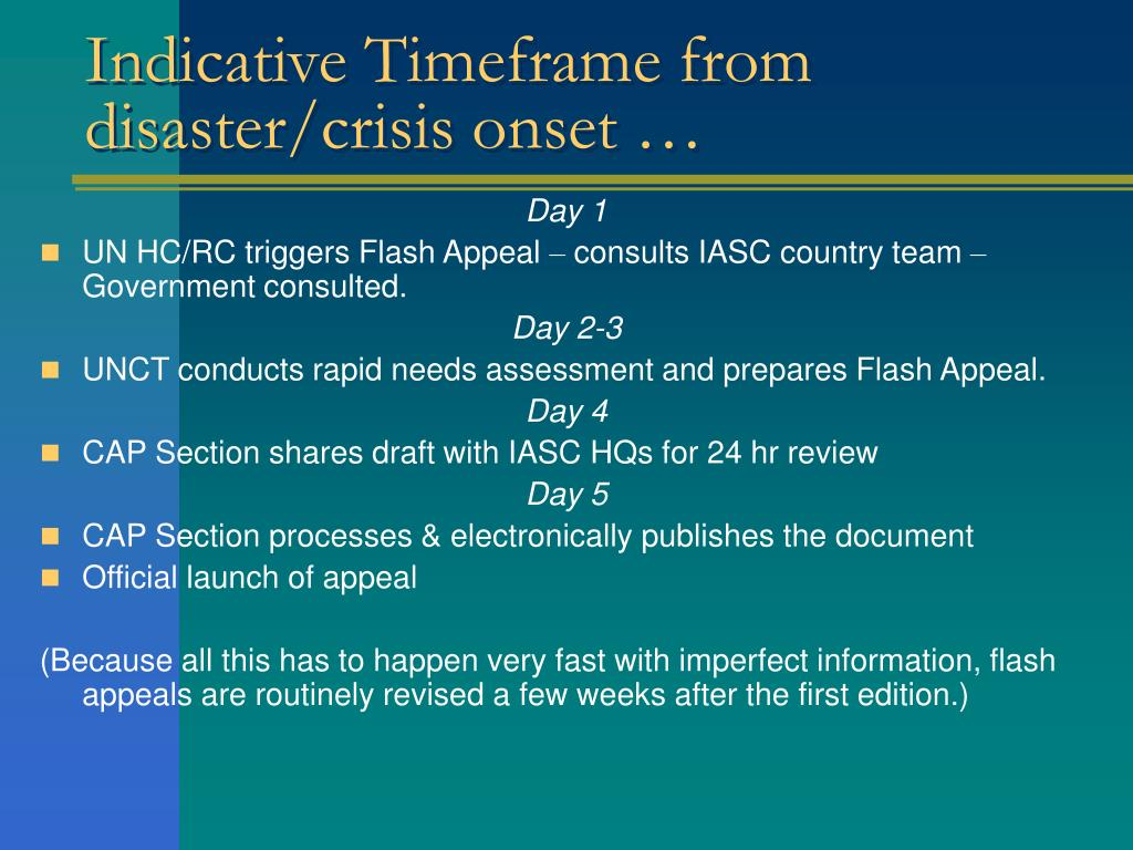 Indicative Timeframe from  disaster/crisis onset