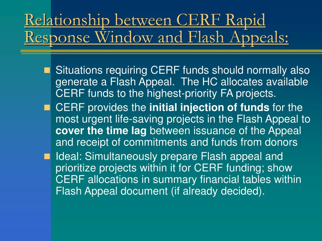 Relationship between CERF Rapid Response Window and Flash Appeals: